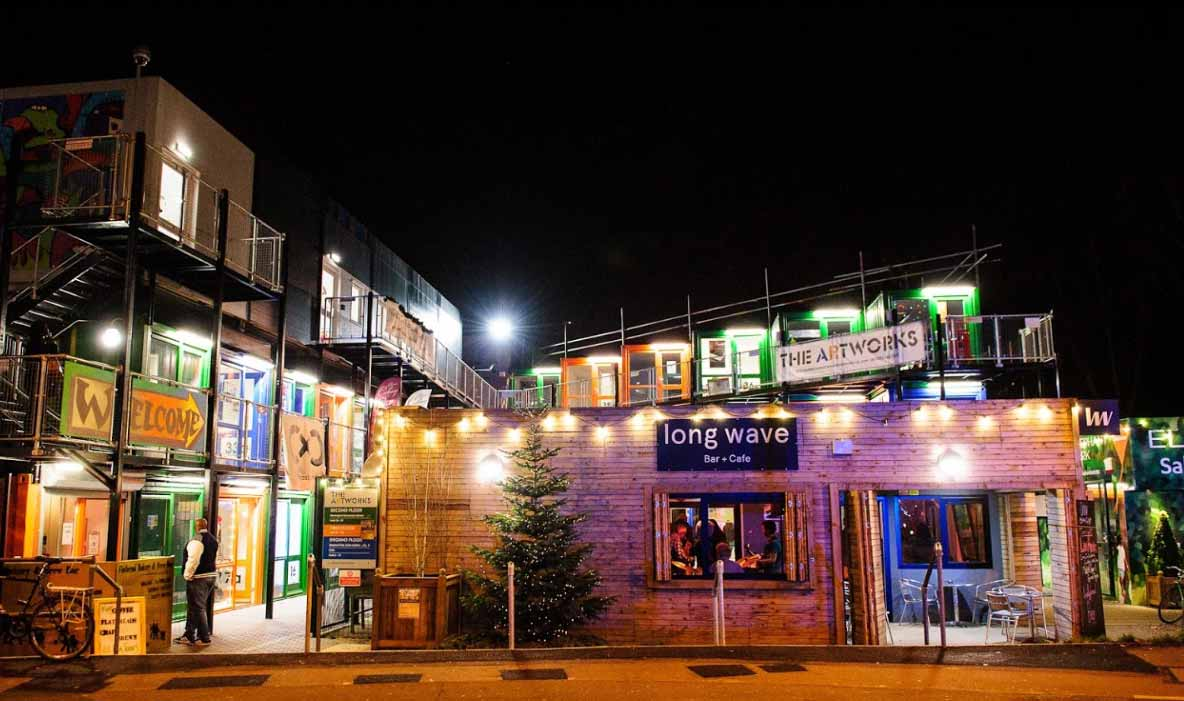 Artworks London container homes by night